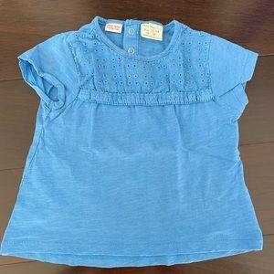 Zara eyelet blue shirt, size 18-24mo